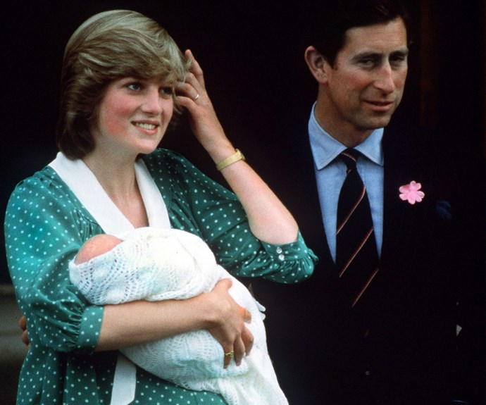 Princess Diana and Prince Charles with baby William, born June 21, 1982.