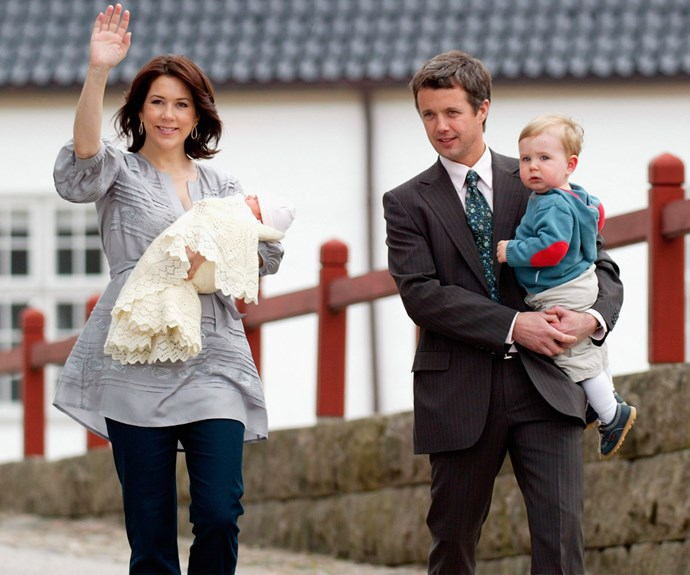 Prince Frederik and Princess Mary with their second child, Isabella, born, 21 April 2007.