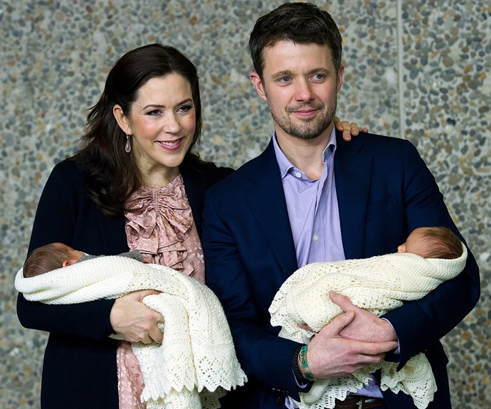 Prince Frederik and Princess Mary with their twins, Vincent and Josephine, born, 8 January 2014.