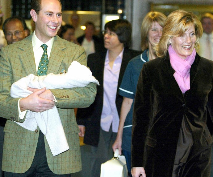 Prince Edward and Sophie, Countess of Wessex with their firstborn, Louise, born, November 8, 2003.
