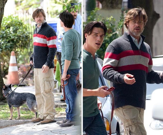 Brad Pitt looked more like Grandpa Pitt on the set of his 2015 movie *The Big Short* while filming in New Orleans.