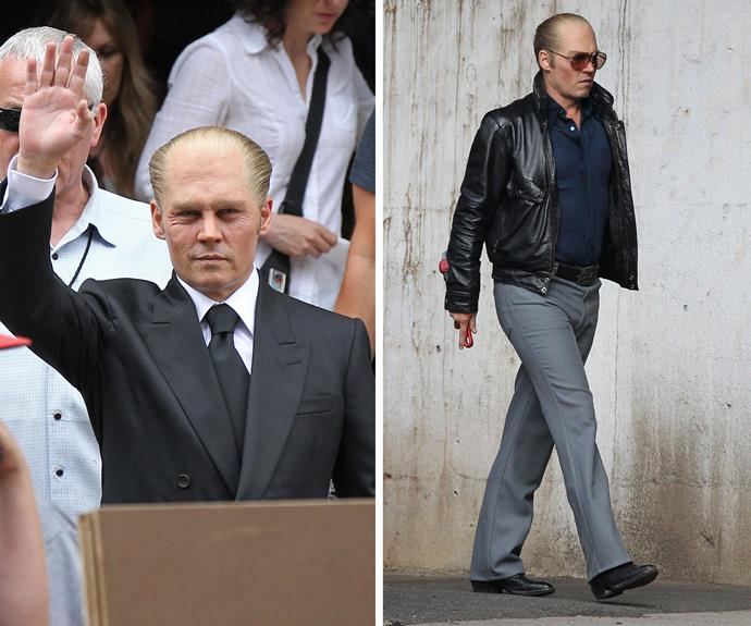 Johnny Depp sported a balding look and paunch to play crime boss Whitey Bulger for *Black Mass*.