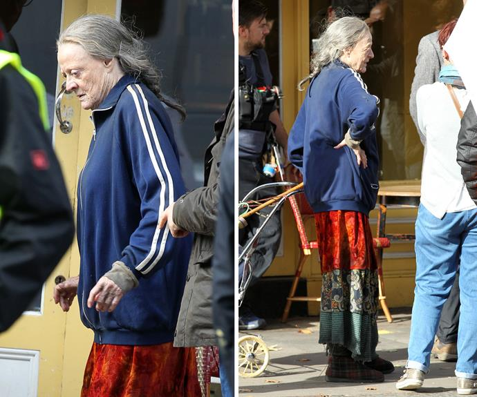 Maggie Smith eschewed the glamourous attire of the well-to-do Dowager Countess of *Downton Abbey* to play the eponymous down-at-hill character in *The Lady in the Van* seen filming in London.
