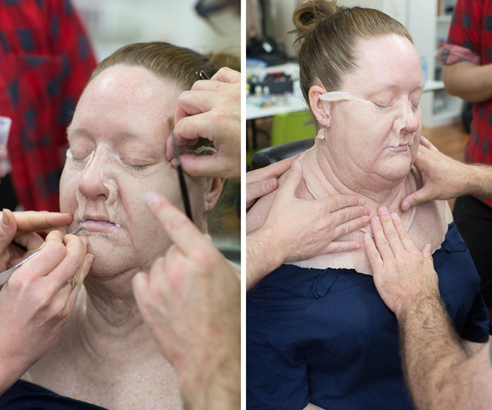 Mandy McElhinney undergoing the hugely time-consuming transformation with the help of prosthetics