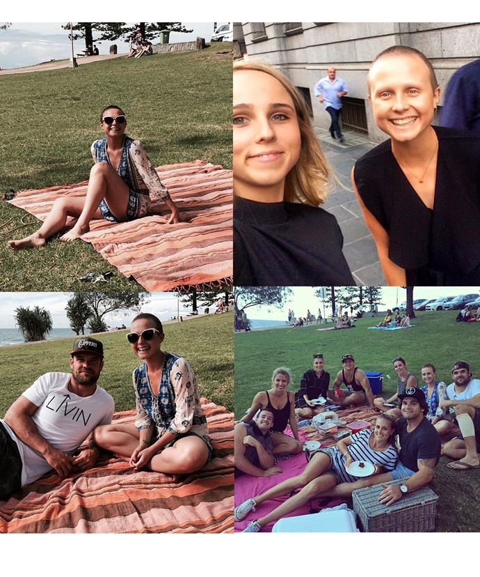 Tessa, Nate and her family and friends celebrated her birthday with a picnic at the beach and her sister Candy shared a snap with her inspirational sister.