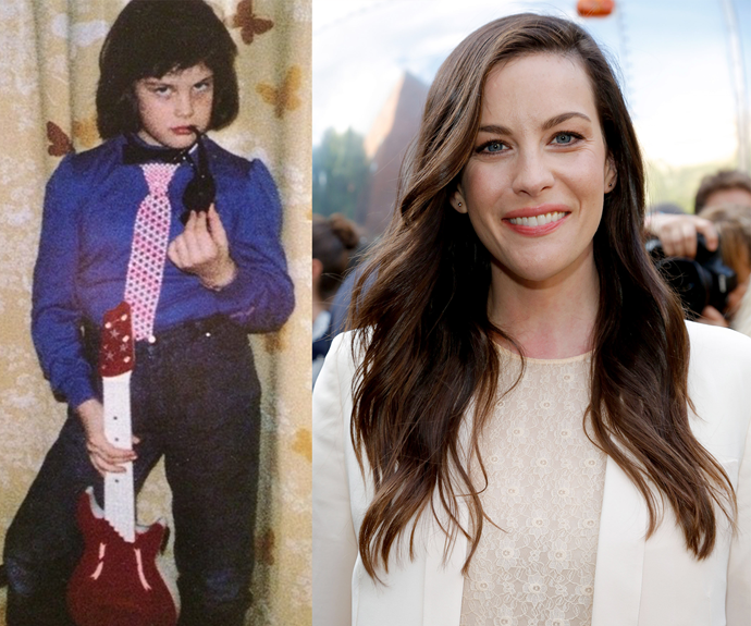 Looks like Liv Tyler has stolen her dad's guitar!
