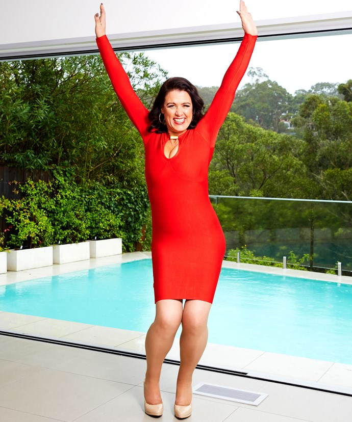Justine couldn't look happier with her whopping 55kg weight loss!