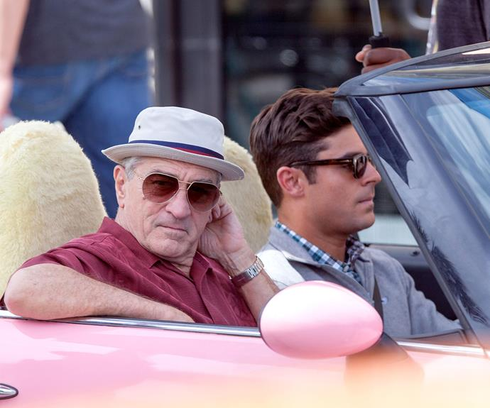 It's all part of a movie that he's currently shooting with Robert DeNiro, title *Bad Grandpa*