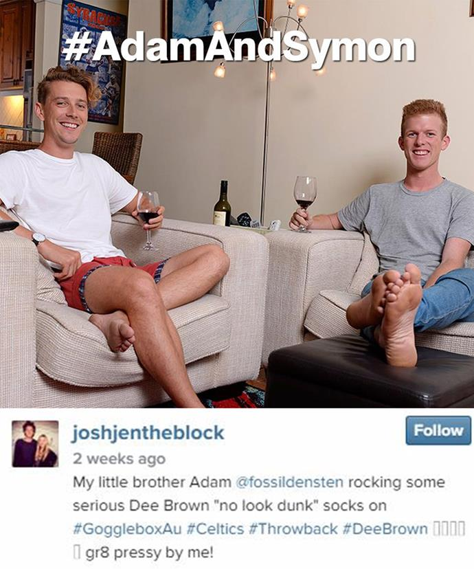 Adam, pictured on the right, stars on Channel Ten's *Gogglebox* which sees every day Australians react to trending television shows.