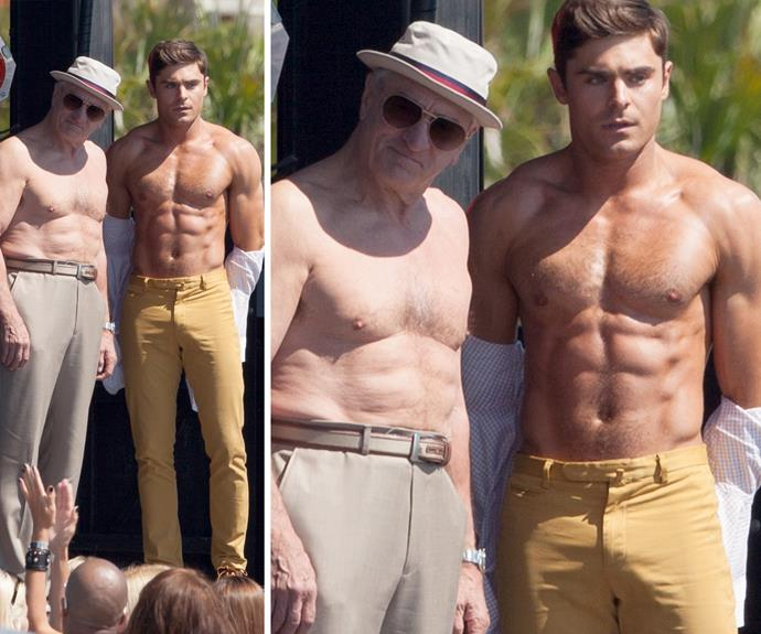 Wowsers! Look at that body… Robert De Niro and not bad Zac Efron! It looks like the pair are having what appears to be a shirtless flex off contest for their movie Dirty Grandpa. No complaints here!