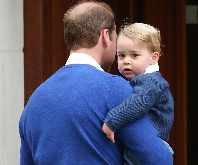 George looked adorable in his matching jumper with his father, on their way to visit the Princess!
