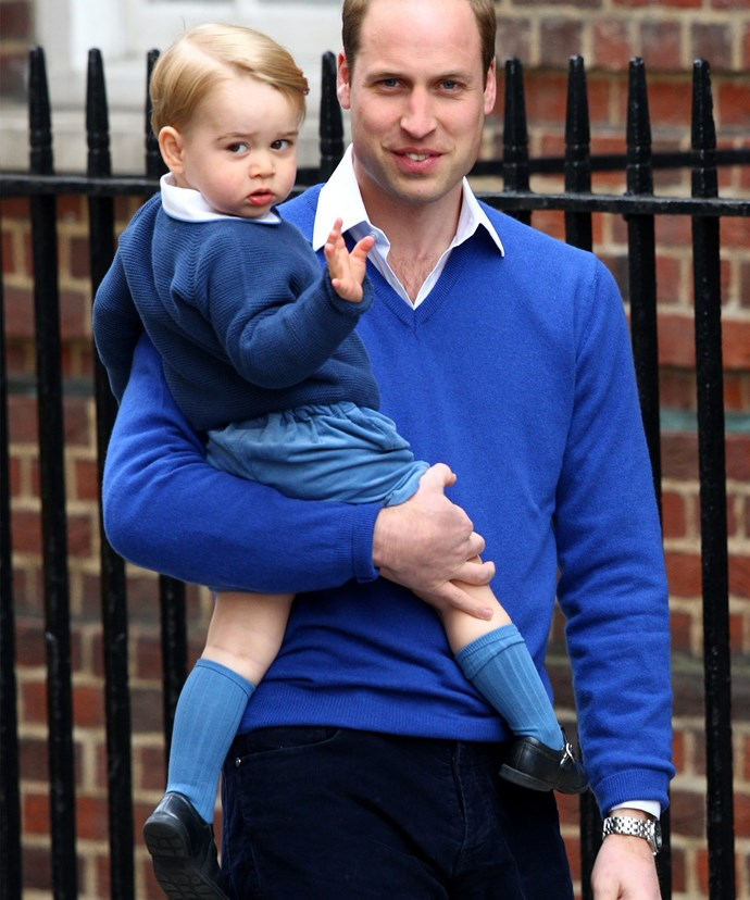 Prince George waves to cameras back in 2015 as he went into meet his new baby sister, Princess Charlotte.