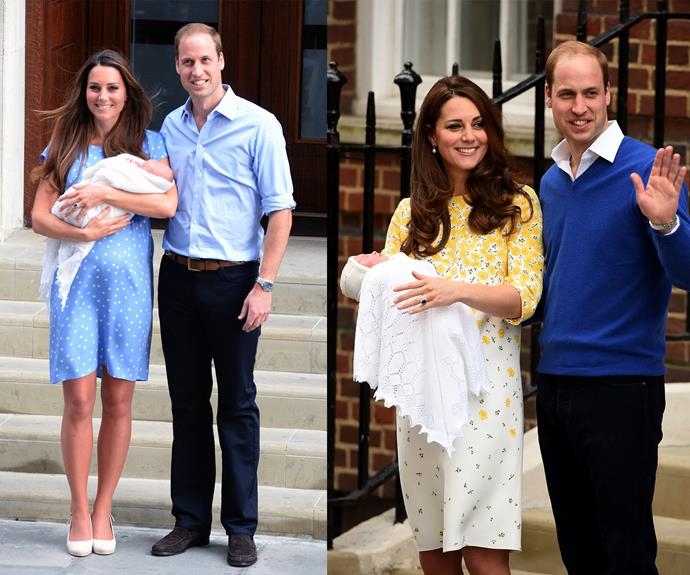 The Duchess glowed just like she did with Prince George. Both young royal babies were wrapped in the pretty lace blanket.