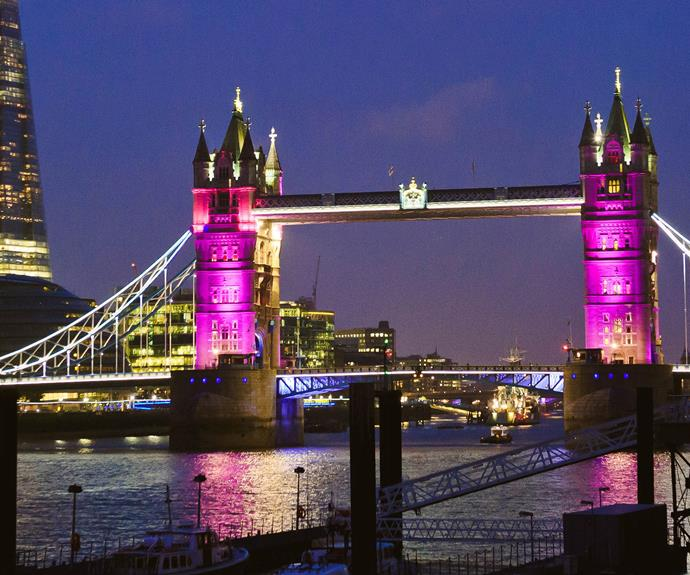 London Bridge was glowed in pink lights to celebrate the little Princess.
