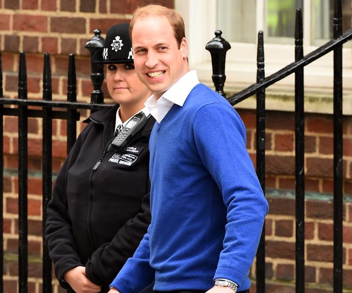The happy dad went to get his young son, Prince George, so he could meet his sister!