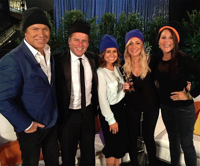 *Today Show* stars, Richard Wilkinson, Karl Stefanovic and Lisa Wilkinson with Carrie Bickmore and Julia Morris wearing their beanies for brain cancer!