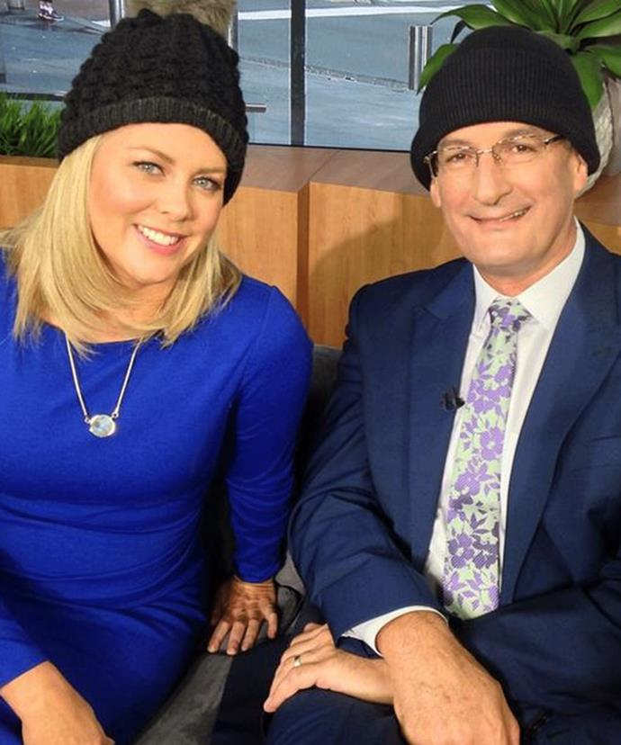 Despite being notably absent from the Logies David Koch and Samantha Armytage still supported brain cancer awareness with their beanies.