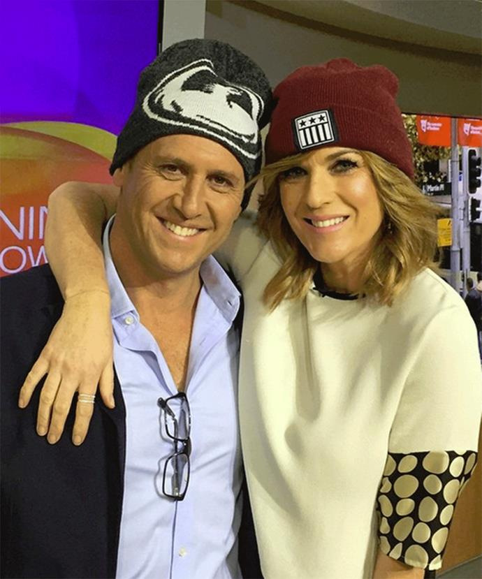 *The Morning Show* hosts, Kylie Gillies and Larry Emdur also donned beanies for brain cancer.
