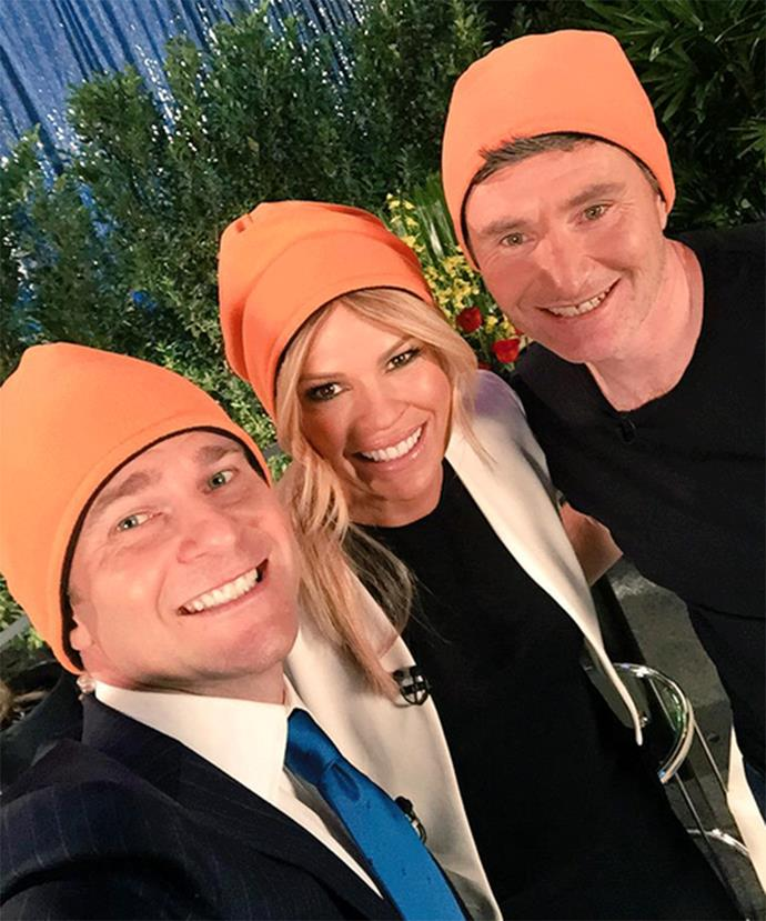 Sonia Kruger and David Campbell wore beanies on their show *Mornings* with Logie presenter David Hughes