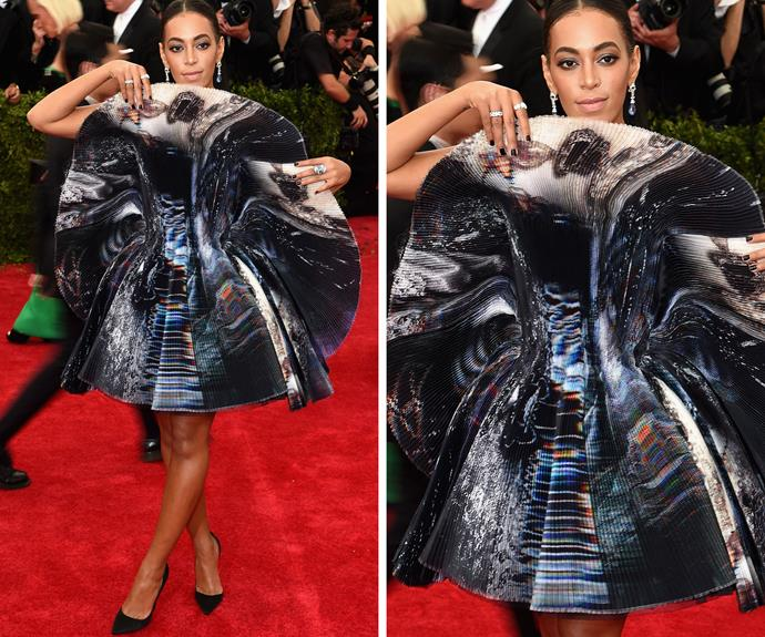 Solange Knowles - hiding out behind her dress?