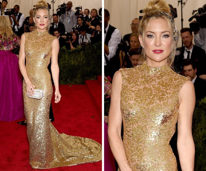 Kate Hudson glitter in gold