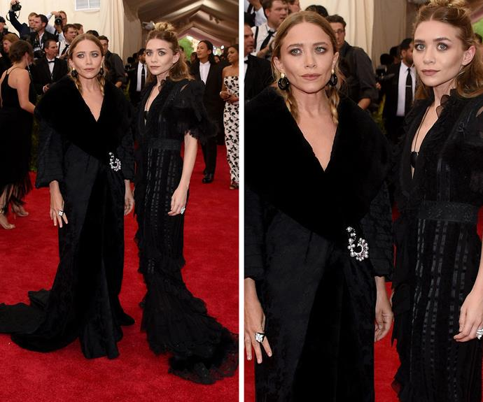 Mary Kate and Ashley Olson go gothic in black