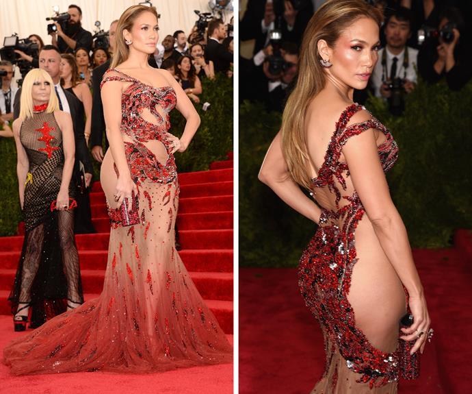 Jennifer Lopez showed off her famous booty in a demi-sheer dress.