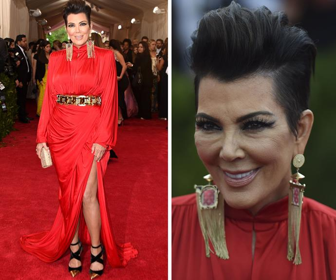 Kris Jenner's gown looked amazing but up close her thick make-up looked rather intense
