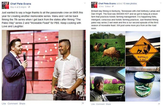 Pete Evans shared posts to his Facebook page confirming that he would be returning to another season of MKR, and giving a glimpse into his travels as he films in the States.