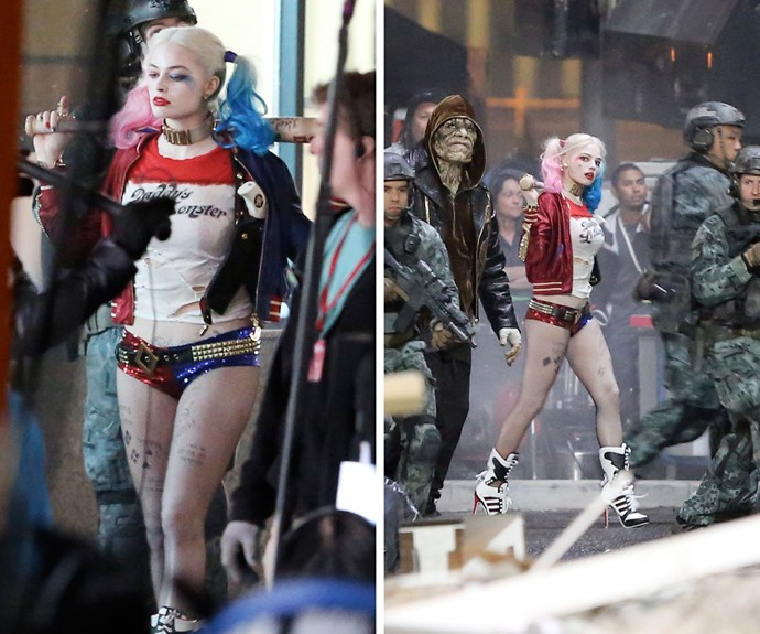 Aussie actress Margot Robbie looked unrecognisable in her get-up for her role as super-villain Harley Quinn in the highly-anticipated *Suicide Squad*