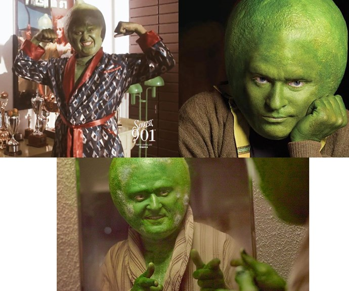 Believe it or not, that's popstar Justin Timberlake dressed as a human lime, for a Tequila advertisement for Sauza 901 - a company that the popstar has a high stake in.