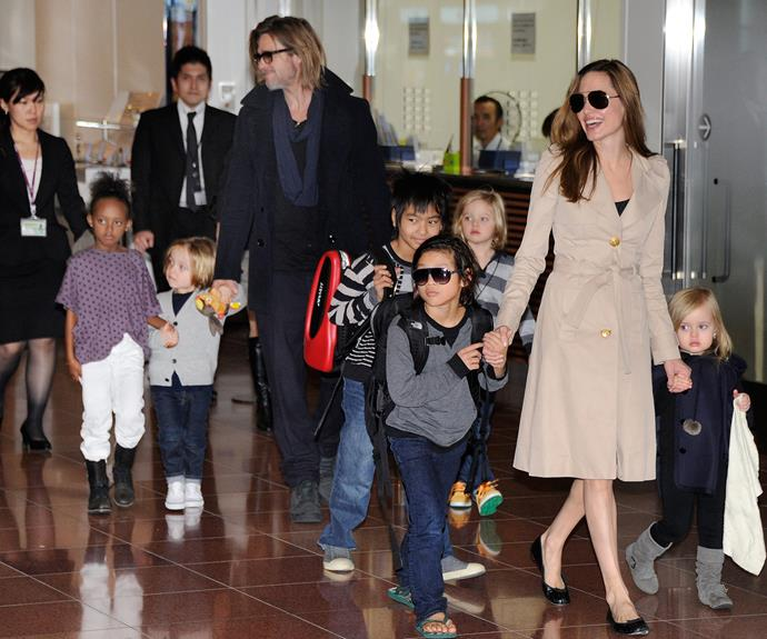Angelina with her brood.