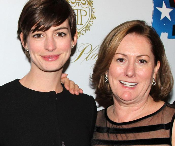 Anne with her mum, Kate Hathaway. The duo both love musical theatre. In fact Kate played the understudy of *Les Miserables*' Fantine, when she was younger. Anne, now a mother herself, famously won an Oscar for her portrayal of the same character.