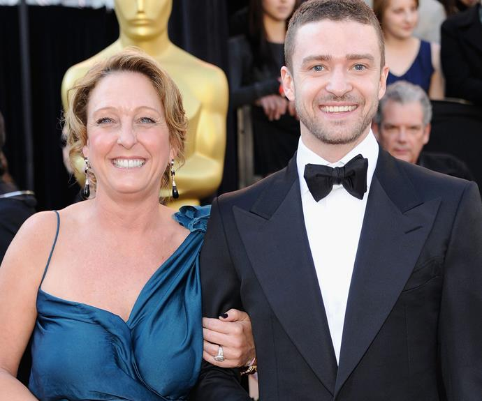 "Justin Timberlake with his lovely mum, Lynn. She couldn't have been more excited when her son became a dad, sharing, ""My amazing son and his beautiful wife have given us the most precious gift in the world! Silas Randall Timberlake! Named after my father and my son! Life is beautiful and we couldn't be happier!"""