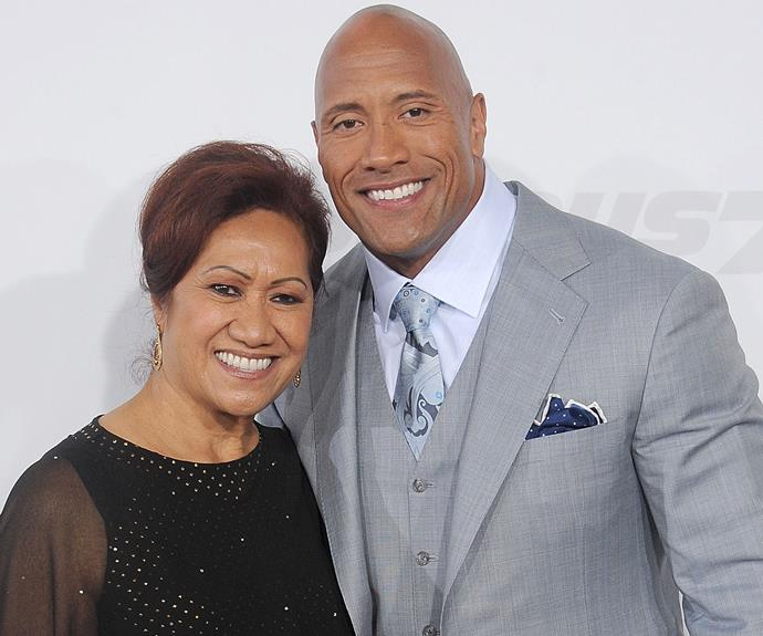 "Dwayne 'The Rock' Johnson with his mum, Ata, who he describes as his ""driving force""."