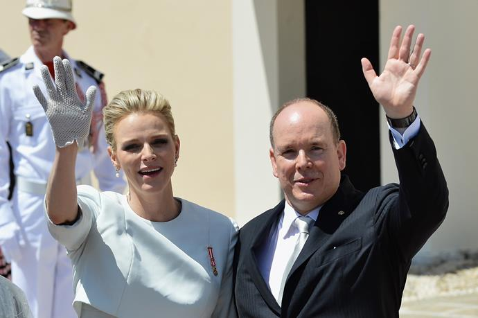Prince Albert of Monaco and Princess Charlene of Monaco walk on the Palace Square after the Baptism of their twins Prince Jacques of Monaco and Princess Gabriella of Monaco at the Cathedral of Monaco on May 10, 2015 in Monaco, Monaco. (Photo by Charly Gallo/Monaco Press Center via Getty Image)