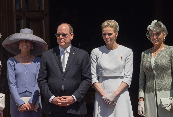 Princess Caroline of Hanover, Prince Albert II of Monaco, Princess Charlene of Monaco and Diane de Polignac Nigra attend The Baptism Of The Princely Children at The Monaco Cathedral on May 10, 2015 in Monaco, Monaco. (Photo by Pascal Le Segretain/Getty Images)