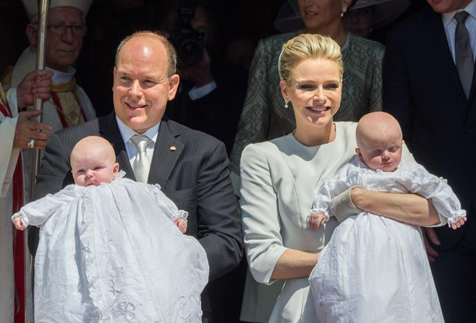 Prince Albert II of Monaco, Princess Gabriella of Monaco, Prince Jacques of Monaco and Princess Charlene of Monaco during the baptism of the Princely Children at the Monaco cathedralon on May 10, 2015 in Monaco, Monaco. (Photo by Didier Baverel/WireImage)