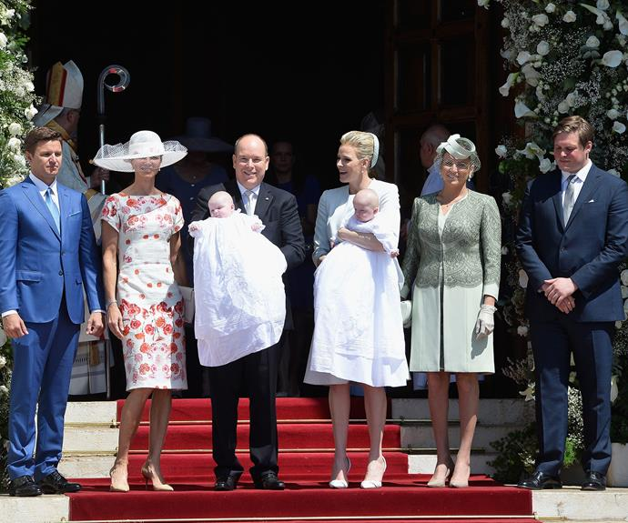 Prince Albert and Princess Charlene with their twins godparents.