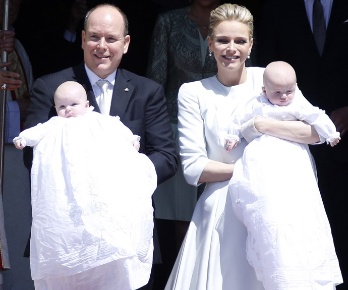 Prince Albert and Princess Charlene of Monaco couldn't hide their pride during their twin's, Gabriella and Jacques christening at Cathedral de Monaco.