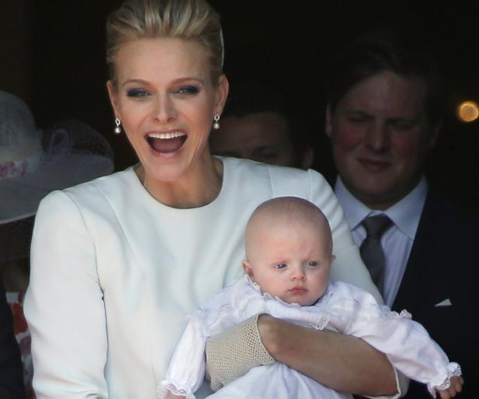 The new mum was brimming with joy on her babies special day.