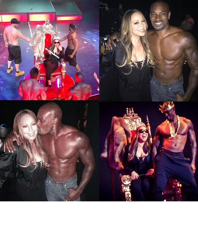 Mariah and Tyson both shared snaps of the diva's personal lapdance when she was dragged onstage with her pal during the Chippendales show.