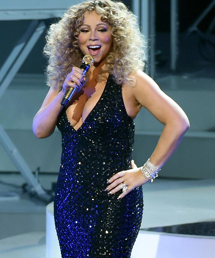 Mariah Carey onstage during her debut performance at her Las Vegas run.