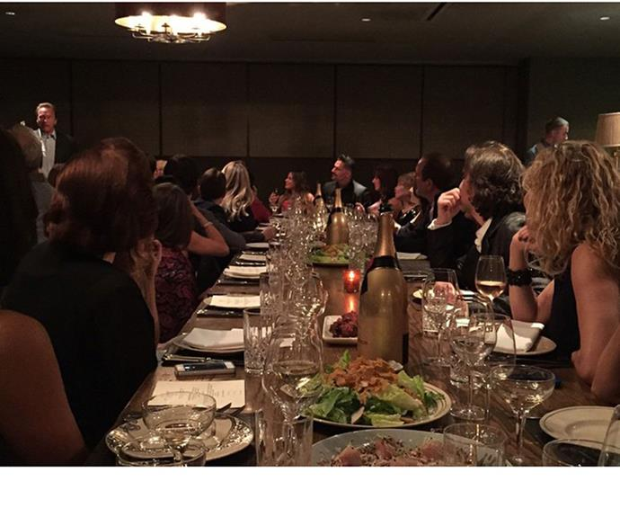 Sofia's son Manolo shared this snap from the soiree as Arnold Schwarzenegger gave a toast.