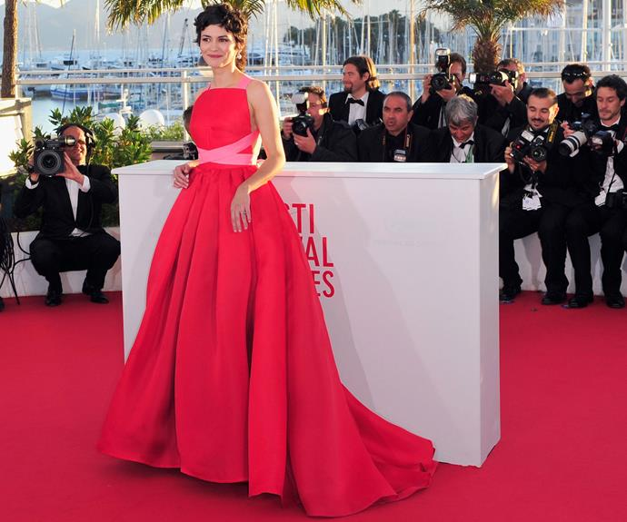 French actress Audrey Tautou in colourful candy shades in 2013.
