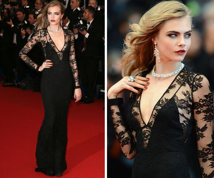 Model of the moment Cara Delevingne oozing vintage glamour in 2013.