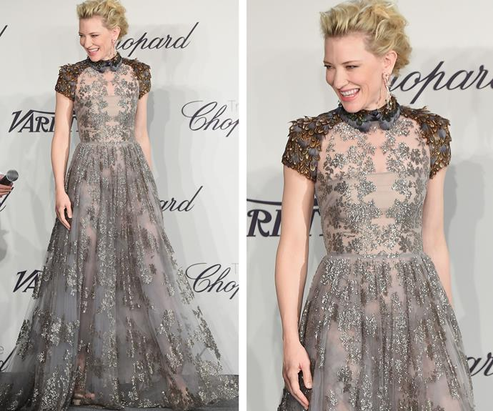 Cate Blanchett looking lovely in lace at the presentation of the Chopard trophy in 2009