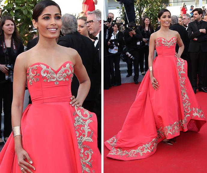 Freida Pinto wows in this stunning embellished gown in 2014.