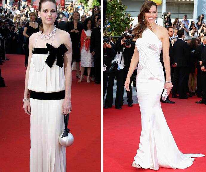 Hilary Swank (left) in 2005 and (right) in 2014.