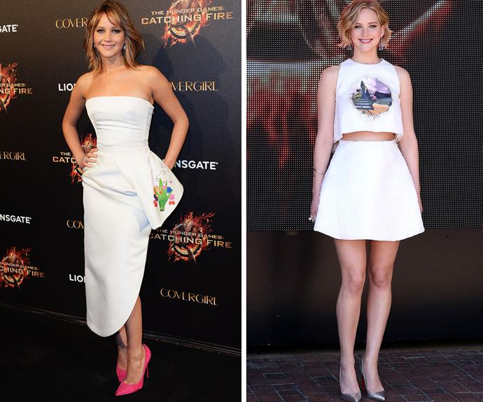 Jennifer Lawrence has had some stunning red carpet moments. Left, in 2013 and right, in 2014, but always in Dior!
